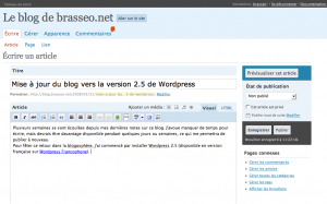 présentation de l\'interface d\'administration de wordpress 2.5