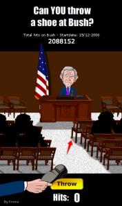 Lancer une chaussure sur Georges Bush