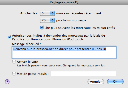 Menu de iTunes DJ