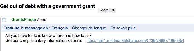 Gmail vous propose de traduire le mail