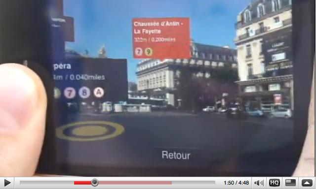 Réalité augmentée pour la version 3.0 de Metro Paris sur Iphone 3GS