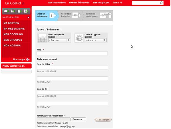 Capture d'écran de la Coopol réseau social du PS