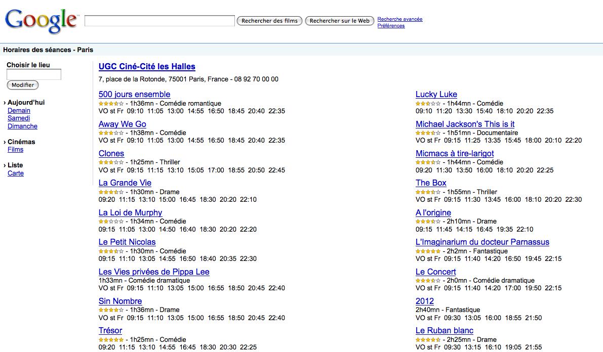 Google Movie propose les horaires de cinéma